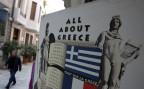 Plakat vor einem Touristenshop in Athen