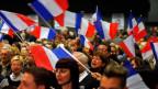 Fans der rechtsextremen Partei Front National FN während einer Kundgebung in der Nähe von Toulon am 16. März 2015.