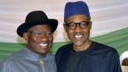 Nigerias Präsident Goodluck Jonathan (L) und der ehemalige Militärmachthaber Muhammadu Buhari kandidieren für das Präsidialamt.