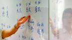 Eine Lehrerin erklärt die Sprache Mandarin.