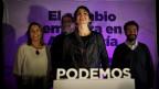 Teresa Rodriguez von der Partei Podemos reagiert nach der andalusischen Regionalwahlen, in Sevilla, Südspanien,  am 22. März 2015.