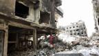 Schutt und Trümmer im Fllüchtlingslager Jarmuk in Damaskus, Syrien. Aufnahme vom 9. April 2015.