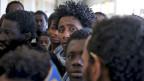 Eine Gruppe von Flüchtlingen aus Afrika.