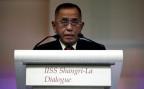 Der indonesische Verteidigungsminister Ryamizard Ryacudu bei seiner Ansprache in Singapur