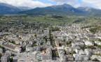 Eine Luftaufnahme von Sion, dem Hauptort des Kantons Wallis