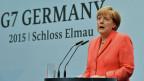 Die deutsche Bundeskanzlerin Angela Merkel an der Schlussmedienkonferenz des G7-Gipfels in Garmisch-Partenkirchen.