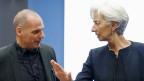 Griechenlands Finanzminister Yanis Varoufakis (links) und IWF-Christine Lagarde während der Verhandlungen in Luxemburg am  18. Juni 2015.