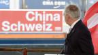Bundesrat Johann Schneider-Ammann anlässlich des Festakts zum Inkrafttreten des Freihandelsabkommens zwischen Schweiz und China am 1. Juli 2014 im Rheinhafen in Basel.