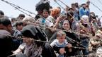 Weil sich die Situation der syrischen Flüchtlinge in den Nachbarländern zunehmend verschlechtert, versuchen immer mehr von ihnen nach Europa zu gelangen. Bild: Flüchtlinge an der syrisch-türkischen Grenze.