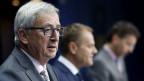 Die Geldgeber sind bereit, über ein neues Hilfspaket für Griechenland zu verhandeln. Jean-Claude Juncker, Donald Tusk und Jeroen Dijsselbloem nach Verhandlungsschluss in Brüssel.