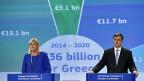 Corina Cretu, in der EU-Kommssion für die Regionalpolitik zuständig, und Valdis Dombrovski, EU-Vize-Kommissionspräsident.
