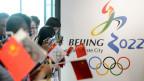 Unterstützer der Olympischen Winterspiele 2022 in Peking während der Kandidatur im Olympischen Museum in Lausanne.