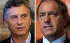 Die zwei aussichtsreichsten Bewerber fürs argentinische Präsidentenamt: Daniel Scioli, Gourverneur von Buenos Aires und Mauricio Macri, der Bürgermeister der Hauptstadt