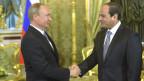 Russlands Präsident Wladimir Putin mit seinem ägyptischen Amtskollegen Abdel Fattah al-Sisi bei ihrem Treffen in Moskau am 26. August 2015.