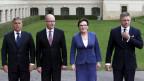 Die Premiers der Visegrad-Staaten: Viktor Orban, Ungarn;  Bohuslav Sobotka, Tschechien; Ewa Kopacz, Polen und Robert Fico, Slowakien (von links).
