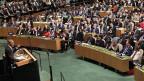 US-Präsident Barack Obama bezeichnet in seiner Rede an der Uno-Generaldebatte den syrischen Präsidenten Bashar al-Assad als Tyrannen. Es gebe keine Rückkehr zum Status Quo vor Beginn des Kriegs, so Obama. Man sei aber bereit, mit Russland und Iran über Syrien zu sprechen.