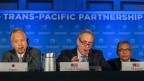 Abschlusspressekonferenz der TPP. Das Freihandelsabkommen soll den Export von Waren stärken und den Handel erleichtern.