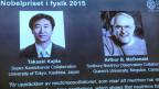 Takaaki Kajita aus Japan (links) und Arthur B McDonald aus Kanada, zu sehen auf dem Bildschirm bei der Pressekonferenz in Stockholm am 6.10.2015.