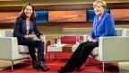 Die deutsche Bundeskanzlerin Angela Merkel in der ARD-Talk-Show Anne Will.