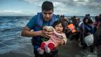 Flüchtlinge aus Syrien kommen auf der Ägäis-Insel Lesbos an.