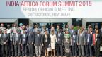 Fototermin für Teilnehmerinnen und Teilnehmer am Indien-Afrika-Gipfel in Neu Delhi.