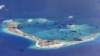 Chinas künstlich aufgeschüttete Insel im Südchinesischen Meer.