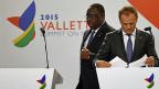 Migration war das grosse Thema am EU-Afrika-Gipfel. Der senegalesische Präsident Macky Sall und EU-Ratspräsident Donald Tusk an der Schluss-Pressekonferenz.