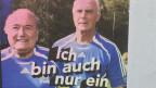 Ein Werbeplakat des Deutschen Theaters in Berlin greift die Diskussion um den Mythos von «Kaiser Franz», von Franz Beckenbauer, auf.