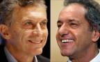 Die beiden Kandidaten fürs Präsidentenamt: Mauricio Macri (links) und Daniel Scioli (rechts)