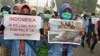 Die Palmöl-Industrie zerstört ganze Landstriche - etwa in Indonesien. Bild: Studentinnen protestieren im indonesischen Pekanbaru.