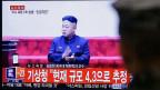 Aufregung um angebliche Wasserstoffbombe: Für das nordkoreanische Regime hat ein grosses Atomwaffenarsenal Top-Priorität. Bild: TV-Auftritt von Machthaber Kim Jong Un, am 6. Januar auf einem Fernsehkanal in Südkorea.