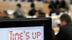 Bei einer Debatte im Uno-Menschenrechtsrat zu Nordkorea zeigt eine Tafel zur Redezeit an: «Time's up».
