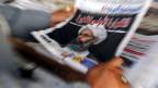 Foto des saudischen Schiitenführers Nimr Baqir al-Nimr in einer Zeitung. Er wurde mit 46 anderen Menschen am 2. Januar hingerichtet, wegen Anstiftung zu Terrorismus und Gewalt.