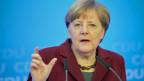 Die deutsch Bundekanzlerin Angela Merkel an der Medienkonferenz anlässlich des CDU-Parteitages vom 9. Januar 2016.