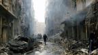 Die syrische Stadt Aleppo liegt in Trümmern. Viele der Bewohner und Bewohnerinnen sind in die Nachbarländer geflüchtet, zum Beispiel in den Libanon.
