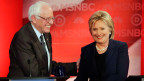 Der demokratische Präsidentschafts-Anwärter Bernie Sanders und Hillary Clinton an einer Wahlveranstaltung in New Hempshire.