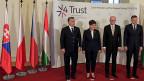 Gespräche über Grenzen, über Zäune, über Schengen: Das Treffen der Visegrad-Premiers:  Viktor Orban von Ungarn, Beata Szydlo von Polen, Bohuslav Sobotka von Tschechien und Robert Fico von derSlowakei.