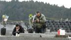 Zwei Männer legen vor einer Gedenktafel am 5. Jahrestag der Fukushima-Katastrophe Blumen nieder.