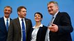 Uwe Junge aus Rheinland-Pfalz, André Poggenburg aus Sachsen-Anhalt, Frauke Petry, die Parteipräsidentin und Jörg Meuthen aus Baden-Württemberg. Die vier Mitglieder der «Alternative für Deutschland» feiern den Wahlsieg.
