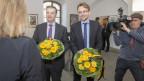 Die neu gewählten Urner Regierungsräte Dimitri Moretti (SP, links) und Urs Janett (FDP, rechts).