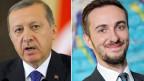 Jan Böhmermann (rechts) hatte in einem Gedicht beleidigende Formulierungen über den türkischen Premier Erdogan benutzt.