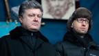 Präsident Petro Poroschenko (links) und Premier Arsenij Jazenjuk bei einer Kundgebung in Kiew.