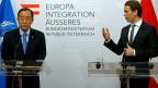 Er sei beunruhigt über die zunehmend restriktive Migrations- und Flüchtlingspolitik europäischer Staaten; die zunehmende Fremdenfeindlichkeit in Österreich sei Aber alarmierend, sagte Uno-Generalsekretär Ban Ki Moon in Wien.