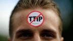 Ein Demonstrant der Umweltschutz-Organisation Greenpeace an der Demonstration gegen den TIPP-Vertrag vom 23. April 2016 in Hannvover.