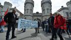 Streikation des Gefängnispersonals in der belgischen Hauptstadt Brüssel.