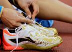 Die Schuhe der Leichtathletin Jelena Isinbajewa