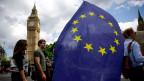 Ein Fan mit der EU-Fahne zieht ab.