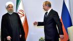 Der iranische Präsident Hassan Rohani und der russische Präsident Wladimir Putin beim Treffen in der aserbaidschanischen Stadt Baku.