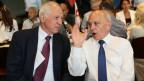 Bundesrat Ueli Mauer und Jacques de Watteville an der DV der SVP in Wettingen.