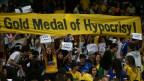 Proteste gegen Brasiliens Regierung an einem olympischen Fussballspiel in Belo Horizonte.